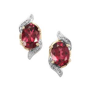 Mahenge Garnet & Diamond 10K Gold Earrings ATGW 3.19cts