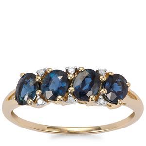Natural Nigerian Sapphire & Diamond 10K Gold Ring ATGW 1.39cts