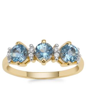 Nigerian Aquamarine Ring with White Zircon in 9K Gold 1.05cts
