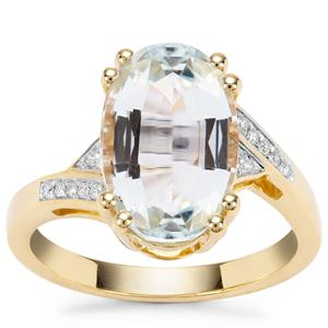 Madagascan Aquamarine Ring with Diamond in 18K Gold 4.27cts