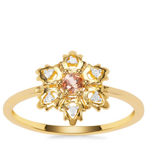 Jenipapo Andalusite Ring with Diamond in Gold Plated Sterling Silver 0.14ct