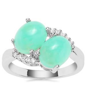 Prase Green Opal Ring with White Zircon in Sterling Silver 3.56cts