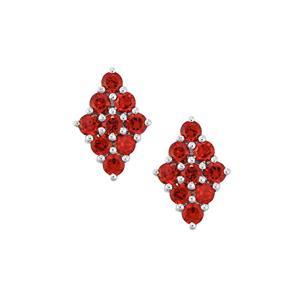 Rajasthan Garnet Earrings in Sterling Silver 4.11cts