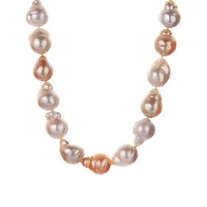 South Sea & Golden South Sea Cultured Pearl Necklace in Sterling Silver (12 x 10mm)