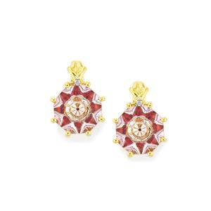 Lehrer KaleidosCut Rose De France Amethyst, Rajasthan Garnet Earrings with Diamond in 10K Gold 3.72cts