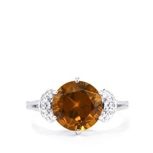Lone Star Cognac Quartz Ring with White Topaz in Sterling Silver 3.88cts