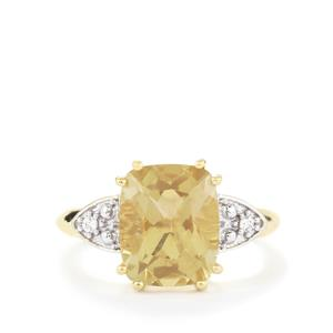 Guyang Sunstone & White Zircon 10K Gold Ring ATGW 3.74cts