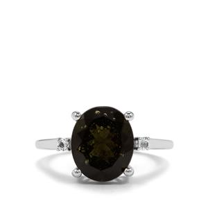 Moldavite Ring with White Topaz in Sterling Silver 3.78cts