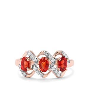 Songea Ruby & White Zircon 9K Rose Gold Ring ATGW 1.16cts