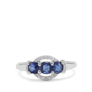Nilamani & White Zircon Sterling Silver Ring ATGW 1.24cts