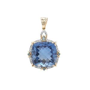 Baiyang Colour Change Fluorite, Marambaia London Blue Topaz  Pendant with White Zircon in 9K Gold 19.36cts