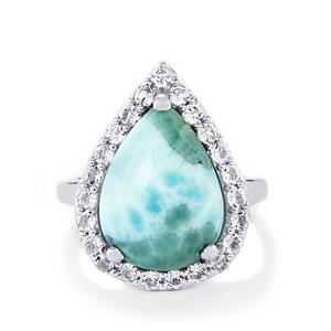 Larimar & White Topaz Sterling Silver Ring ATGW 9.97cts