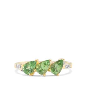 Tsavorite Garnet & Diamond 9K Gold Ring ATGW 1.34cts