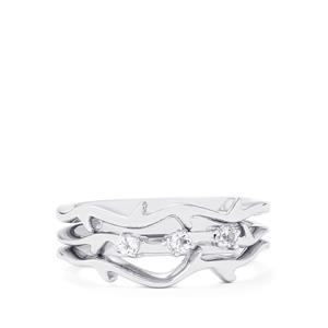 0.12ct White Topaz Sterling Silver Set of 3 Stacker Rings
