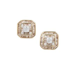 Champagne Diamond Earrings with White Diamond in 9K Gold 1ct