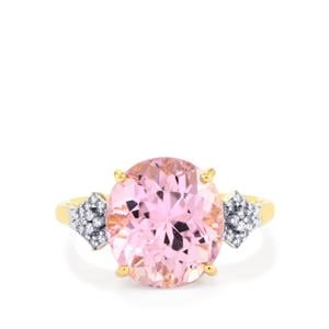 Mawi Kunzite Ring with Diamond in 18K Gold 7.48cts