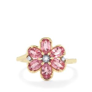 Sakaraha Pink Sapphire Ring with Diamond in 10k Gold 1.80cts