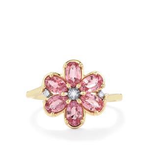 Sakaraha Pink Sapphire & Diamond 9K Gold Ring ATGW 1.80cts