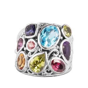 4.60ct Kaleidoscope Gemstones Samuel B Sterling Silver Ring