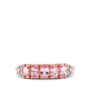 Mozambique Pink Spinel & Diamond 9K Rose Gold Ring ATGW 1.31cts