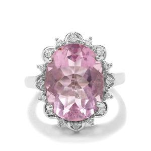 Natural Pink Fluorite Ring with White Zircon in Platinum Plated Sterling Silver 11.59cts