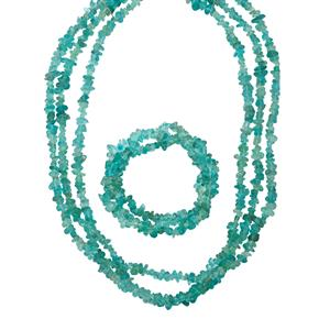375ct Madagascan Blue Apatite 925 3 Row Set of Nugget Necklace & Twisted Stretchable Nugget Bracelet