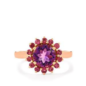 Moroccan Amethyst & Rhodolite Garnet Rose Gold Vermeil Ring ATGW 2.41cts
