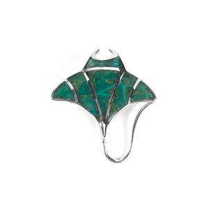 Chrysocolla Mantaray Pendant in Sterling Silver 3cts