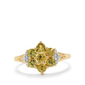 Ambanja Demantoid Garnet Ring with Diamond in 10K Gold 1.24cts