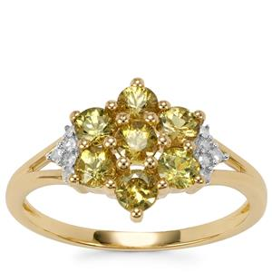 Ambanja Demantoid Garnet Ring with Diamond in 9K Gold 1.24cts
