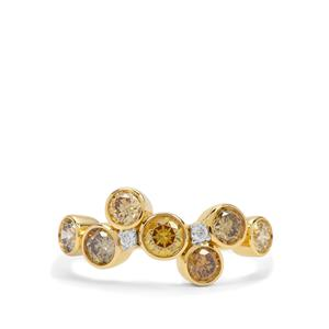 Multi-Colour Diamond Ring with White Diamond in 18K Gold 1.30cts