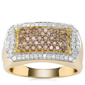 Champagne Diamond Ring with White Diamond in 9K Gold 1ct