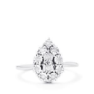 1/8ct Diamond Sterling Silver Halo Diamond Ring