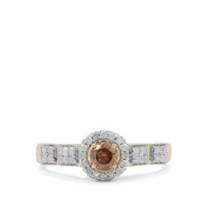Natural Champagne Diamond Ring with White Diamond in 9K Gold 0.75ct
