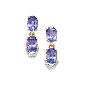 AA Tanzanite & Diamond 18K Gold Tomas Rae Earrings MTGW 3cts
