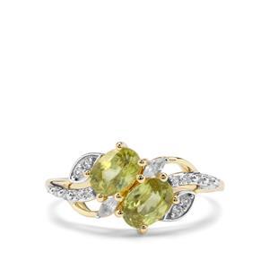 Ambilobe Sphene & White Zircon 9K Gold Ring ATGW 1.46cts