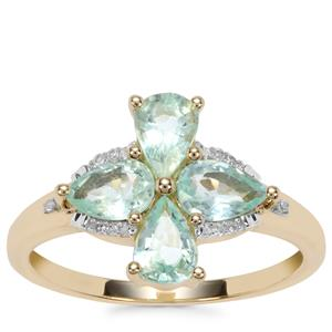 Paraiba Tourmaline Ring with Diamond in 10k Gold 1.17cts