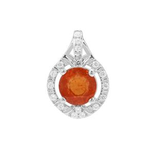 Mandarin Garnet Pendant with White Zircon in Sterling Silver 1.07cts