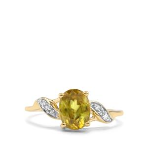 Ambilobe Sphene Ring with Diamond in 10K Gold 1.68cts
