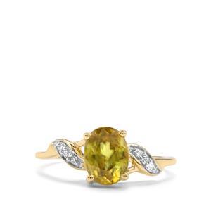 Ambilobe Sphene & Diamond 10K Gold Ring ATGW 1.68cts