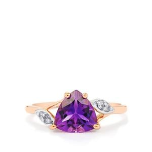 Moroccan Amethyst Ring with White Zircon in 9K Rose Gold 1.62cts