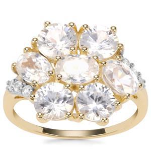Singida Tanzanian Zircon Ring with Ceylon Sapphire in 9K Gold 6.29cts