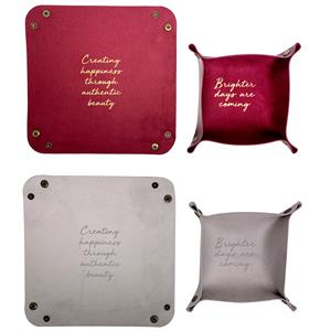 PU Leather Collapsible Trinket Tray - Set of 2 - Choice of Colour