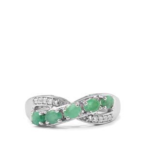 Carnaiba Brazilian Emerald & White Topaz Sterling Silver Ring ATGW 0.91cts