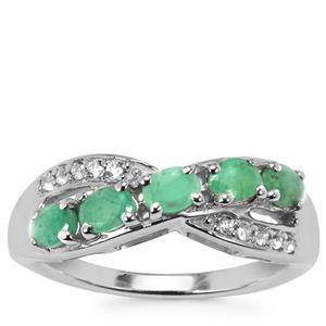 Carnaiba Brazilian Emerald Ring with White Topaz in Sterling Silver 0.91cts