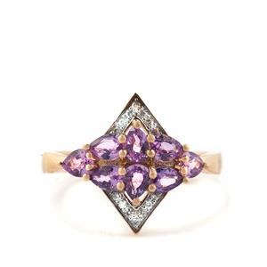 Purple Sapphire Ring with White Zircon in 10k Gold 1.56cts