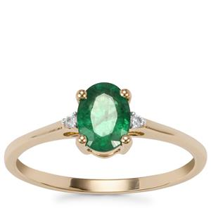 Bahia Emerald Ring with White Zircon in 9K Gold 0.66ct