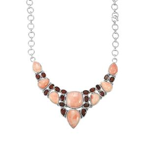 Pink Lady Opal & Ciana Hessonite Garnet Sterling Silver Aryonna Necklace ATGW 56.13cts