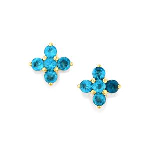 Neon Apatite Earrings in 9K Gold 1.11cts
