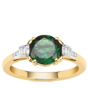 Tsavorite Garnet Ring with Diamond in 18K Gold 1.65cts